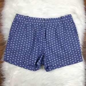 J. Crew Blue White Chambray Ink Dotted Shorts